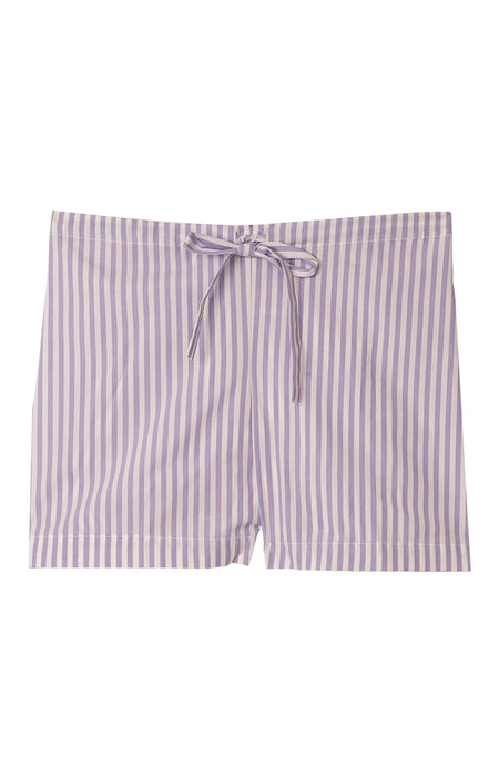 Classic Cotton Lilac Stripe Pyjama Shorts | Bonsoir of London