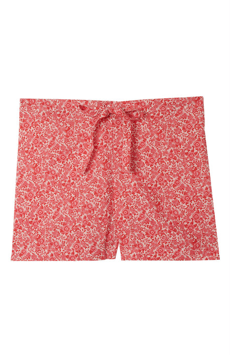 Classic Cotton Red Willow Pyjama Shorts | Bonsoir of London