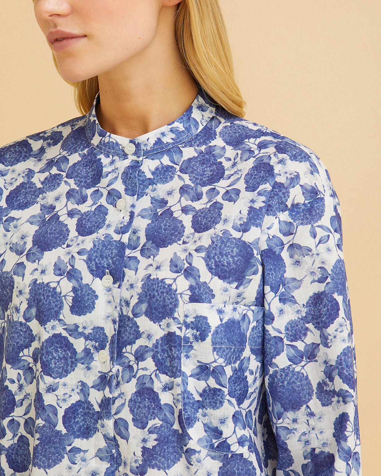 Women's Organic Cotton Nightshirt Blue Floral | Bonsoir of London
