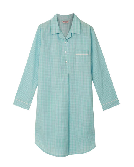 Classic Cotton Aqua Check Nightshirt | Bonsoir of London