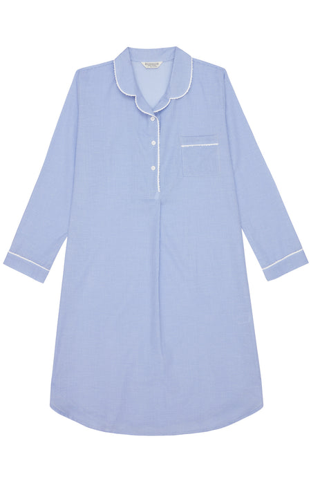 Classic Cotton Blue Check Nightshirt | Bonsoir of London
