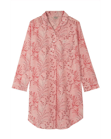 Classic Cotton Bright Pink Floral Nightshirt | Bonsoir of London