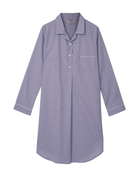 Classic Cotton Lilac Check Nightshirt | Bonsoir of London