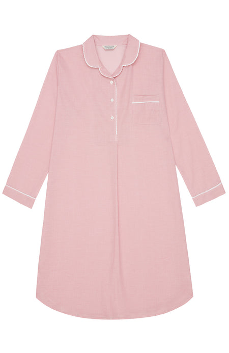 Classic Cotton Pink Check Nightshirt | Bonsoir of London