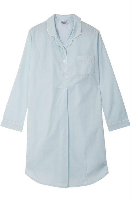 Classic Cotton Pale Aqua Nightshirt | Bonsoir of London