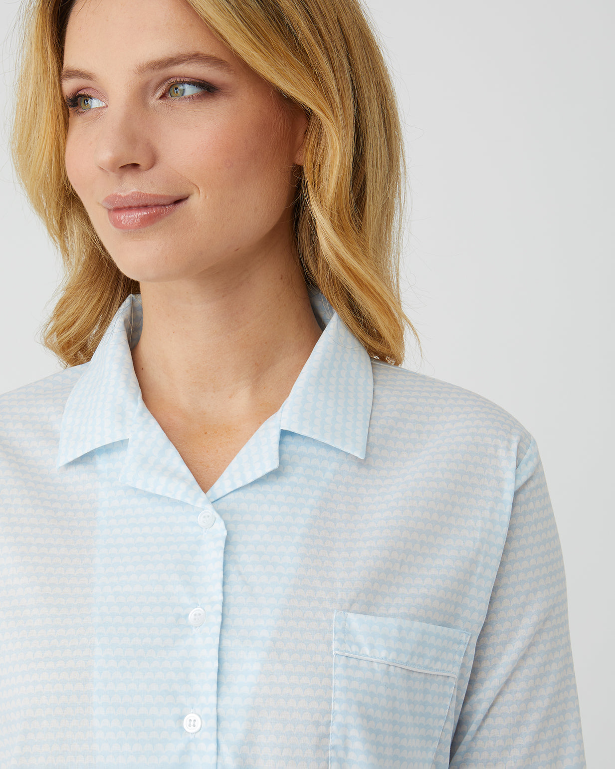 Classic Cotton Blue Waves Nightshirt | Bonsoir of London