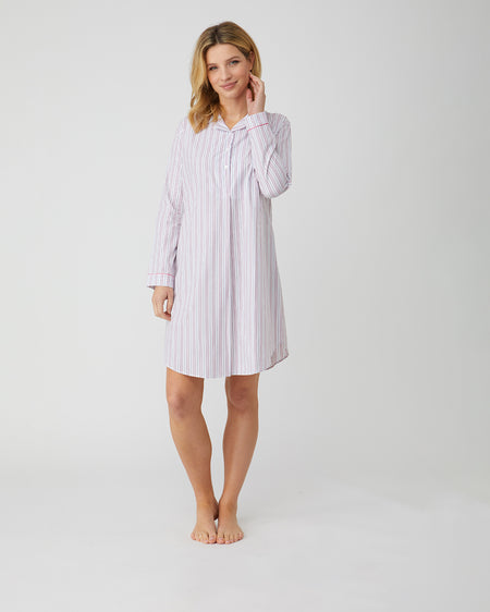 Classic Cotton Pink and White Stripe Nightshirt | Bonsoir of London