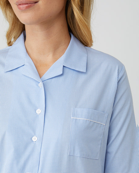 Classic Cotton Sky Gingham Nightshirt | Bonsoir of London