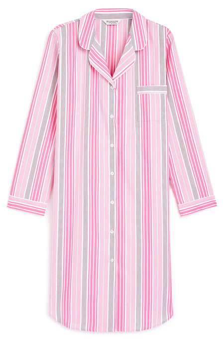 Classic Cotton Button Through Nightshirt (clnf) - Pink Stripe | Bonsoir of London