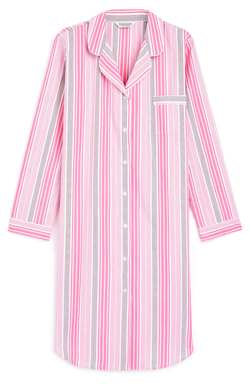CLASSIC COTTON BUTTON THROUGH NIGHTSHIRT - PINK STRIPE