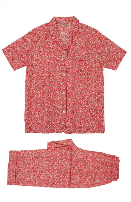 Classic Cotton Red Willow Short Sleeve Pyjamas | Bonsoir of London