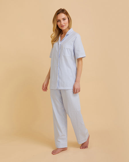 Women's Short Sleeve Cotton Pyjamas Blue Stripe | Bonsoir of London