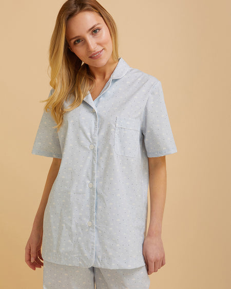 Women's Short Sleeve Cotton Pyjamas Blue Cloud Print | Bonsoir of London