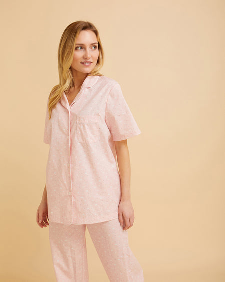 Women's Short Sleeve Cotton Pyjamas Pink Cloud Print | Bonsoir of London