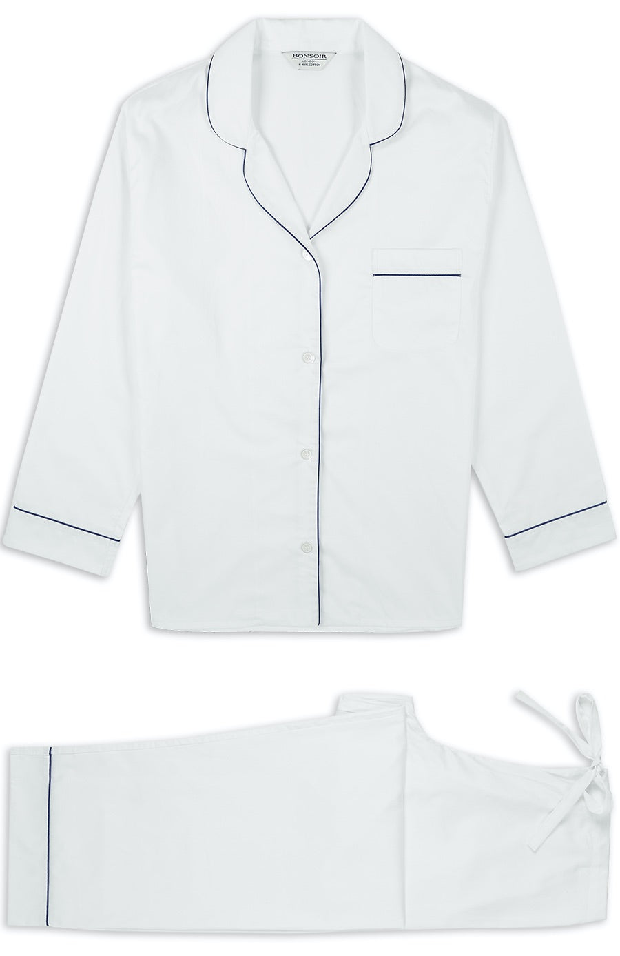 Women's Classic Cotton White Sateen Pyjamas | Bonsoir of London