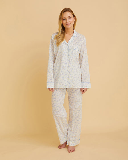 Women's Cotton Pyjamas Blue Flowers | Bonsoir of London