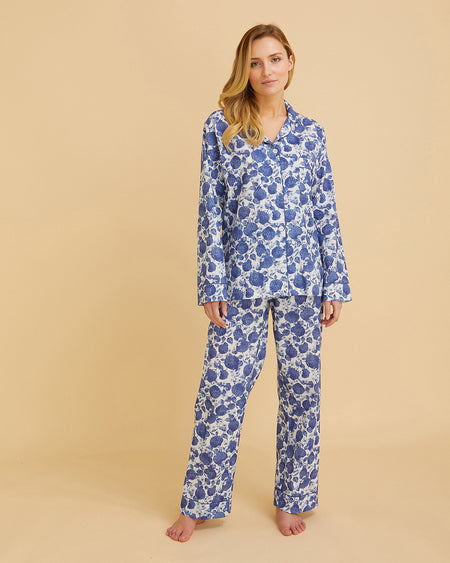 Women's Organic Cotton Pyjamas Blue Floral | Bonsoir of London