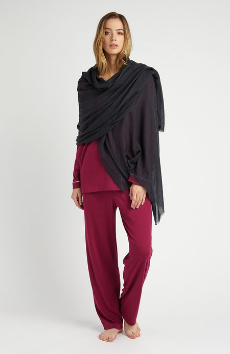 Cashmere Shawl (cswl) - Charcoal | Bonsoir of London