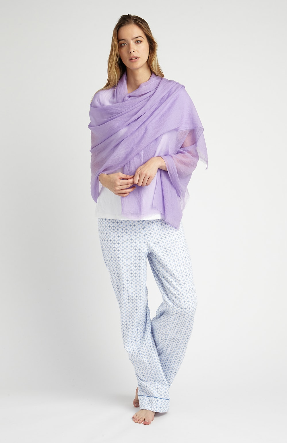 Cashmere Shawl (cswl) - Lilac | Bonsoir of London