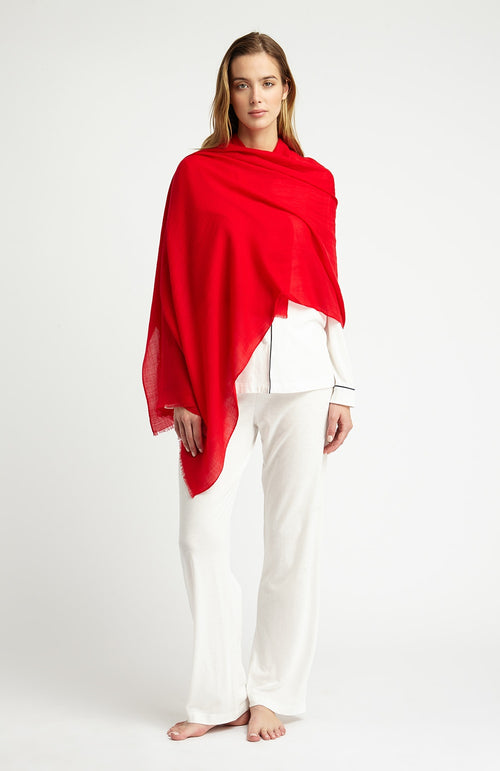 CASHMERE SHAWL - RED | Bonsoir of London
