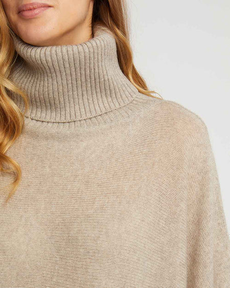Women's Cashmere Knit Roll Neck Poncho - Fawn