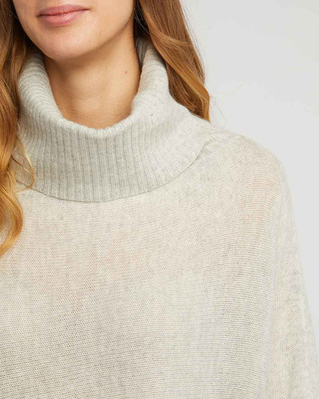 Women's Cashmere Knit Roll Neck Poncho - Grey