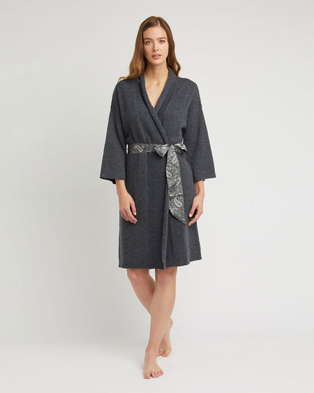Women's Cashmere Robe - Charcoal Grey