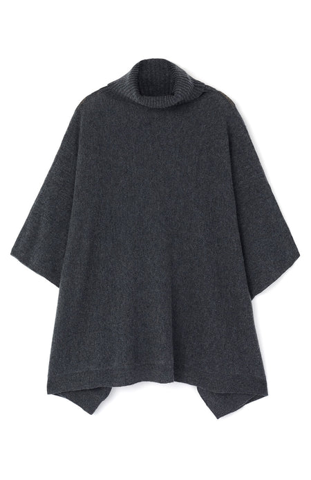 Cashmere Roll Neck Poncho (crnk) - Charcoal | Bonsoir of London