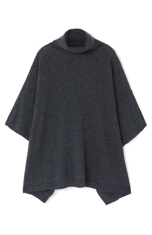 Cashmere Roll Neck Poncho (crnk) - Fawn