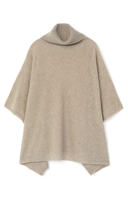 Cashmere Roll Neck Poncho (crnk) - Fawn | Bonsoir of London