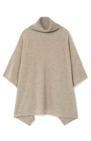 Cashmere Roll Neck Poncho (crnk) - Grey