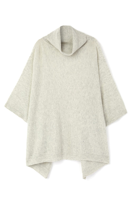 Cashmere Roll Neck Poncho (crnk) - Grey | Bonsoir of London