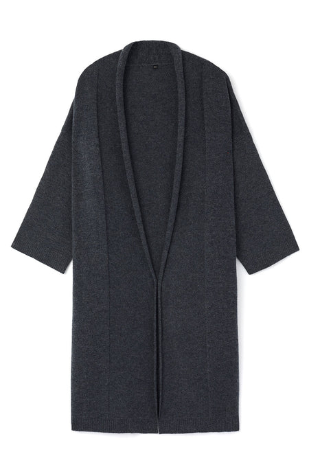 Cashmere Robe (crob) - Charcoal | Bonsoir of London