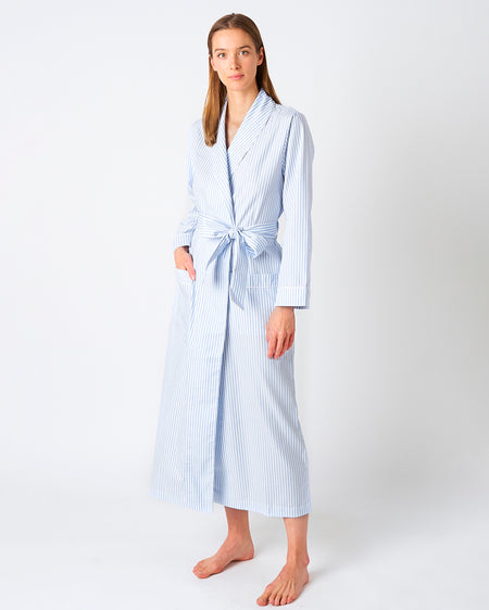 Women's Classic Cotton Blue Twill Dressing Gown | Bonsoir of London
