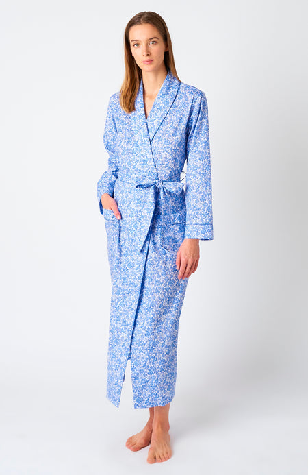 Women's Classic Cotton Willow Flower Dressing Gown | Bonsoir of London