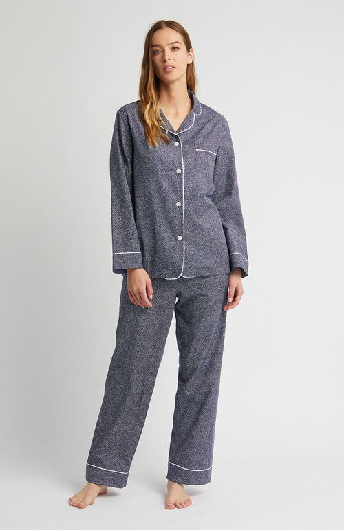 Classic Cotton Pyjamas (clfp) - Navy Swirl | Bonsoir of London