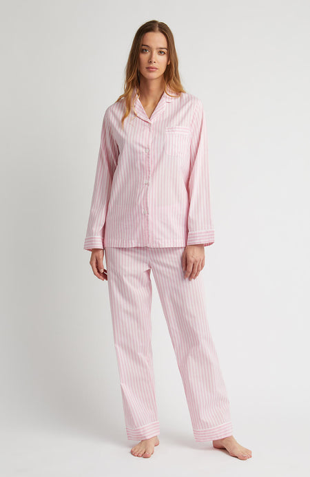 Classic Cotton Pyjamas (clfp) - Pink Stripe | Bonsoir of London