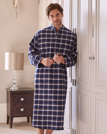 Brushed Cotton Grandad Nightshirt (jmnl) - Drumore | Bonsoir of London