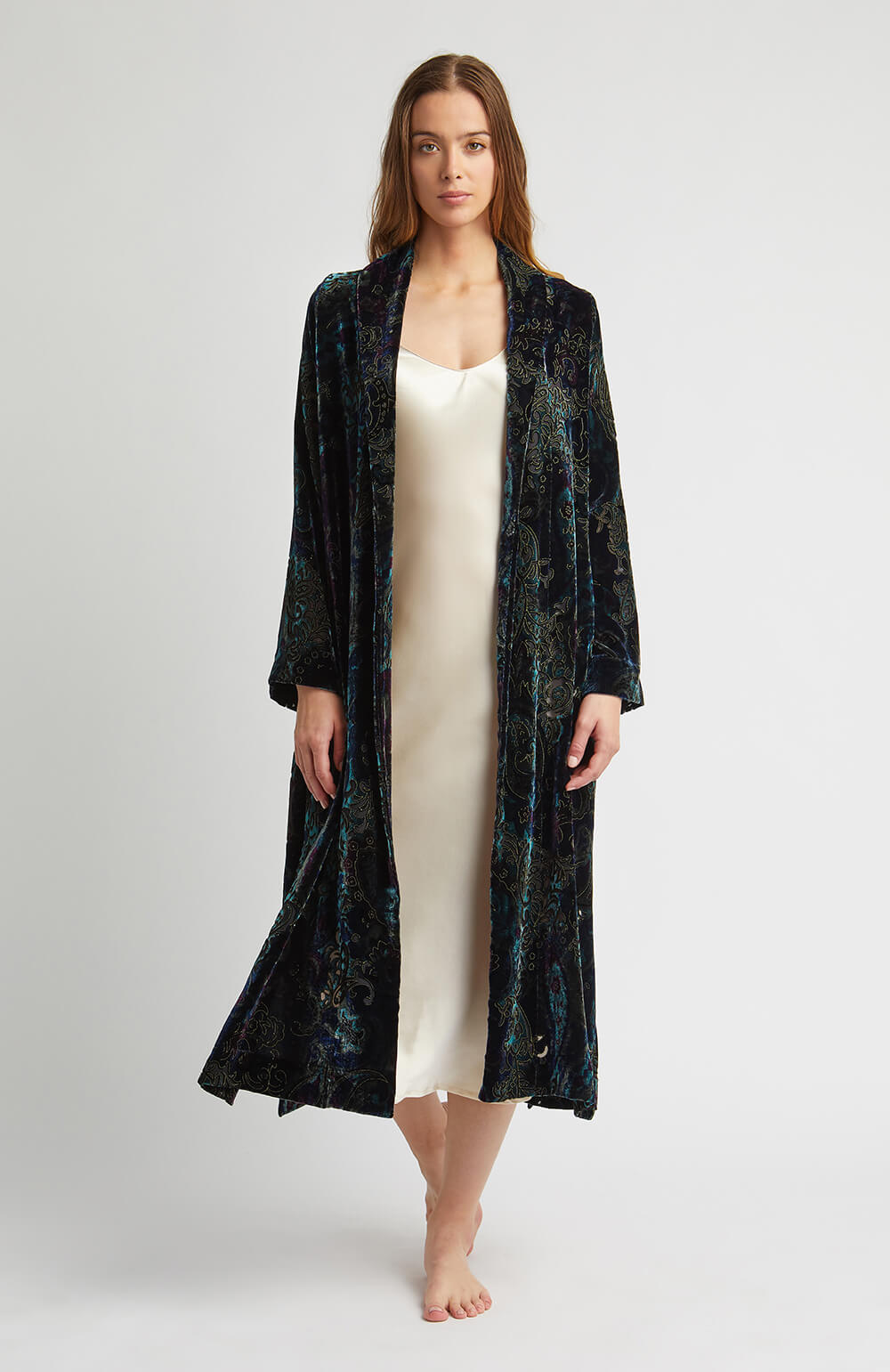 Luxury Blue Paisley Dressing Gown  65859d15f