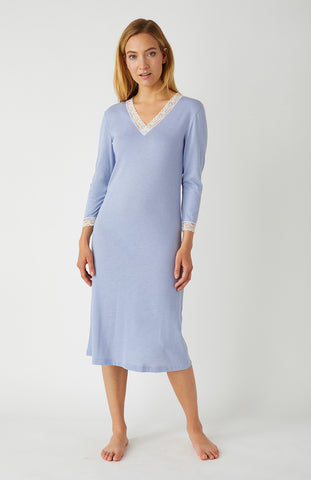 French Pleat Short Sleeve Nightdress (3111) - Blue Swirl