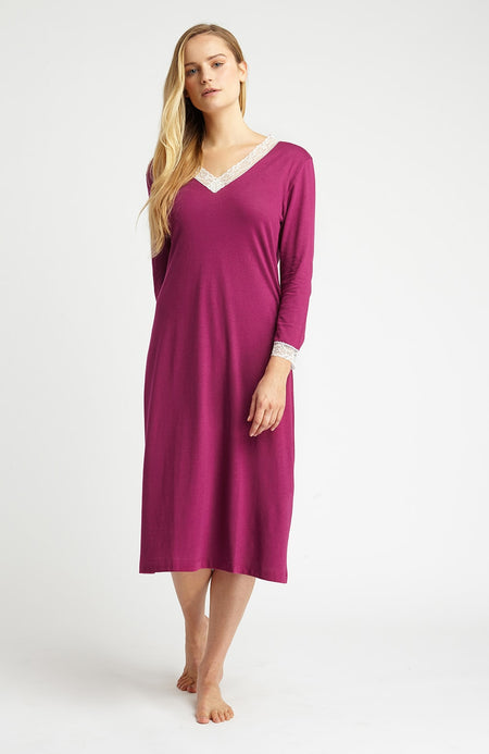 Ella Nightdress (ella) - Berry | Bonsoir of London
