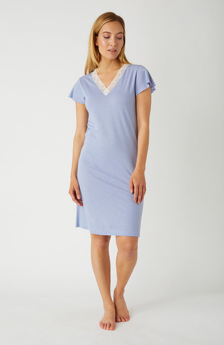 Ella French Grey Short Nightdress | Bonsoir of London