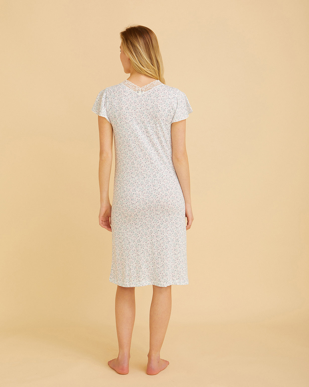 Women's Jersey Short Sleeve Nightdress With Lace Detail Pink Floral | Bonsoir of London