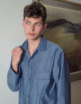 FINESSE JACQUARD PYJAMAS - INDIGO | Bonsoir of London