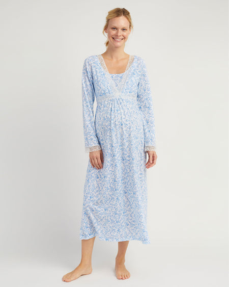 Maternity & Nursing Long Sleeve Jersey Nightdress - Blue Floral