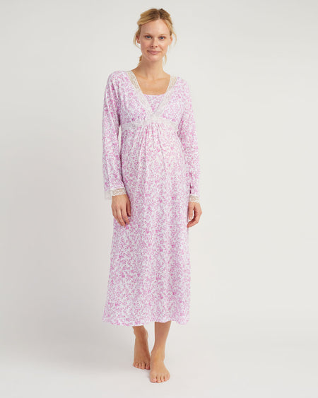 Maternity & Nursing Long Sleeve Jersey Nightdress - Pink Floral