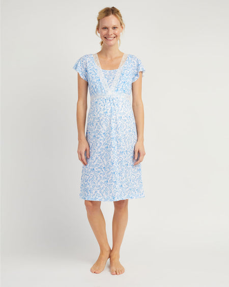 Maternity & Nursing Short Sleeve Jersey Nightdress - Blue Floral
