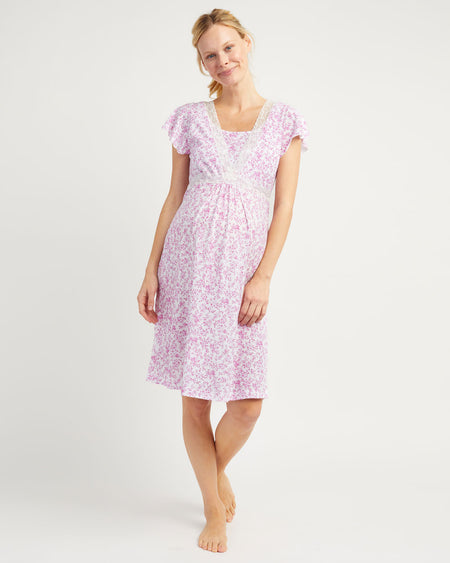 Maternity & Nursing Short Sleeve Jersey Nightdress - Pink Floral
