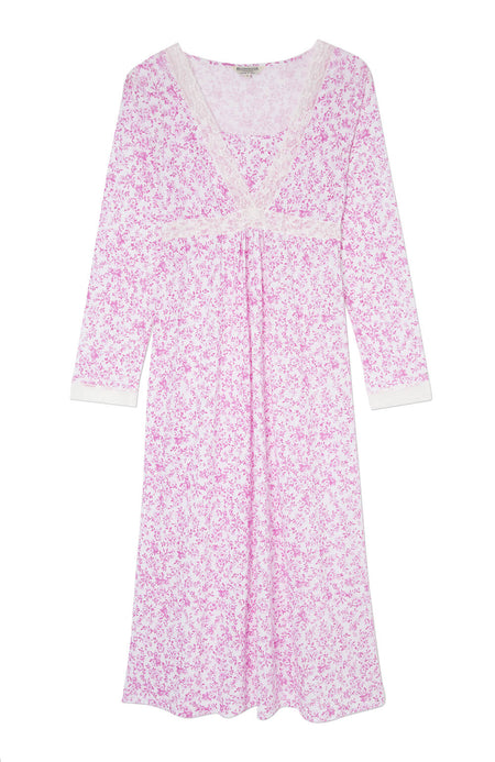 Maternity & Nursing Long Sleeve Jersey Nightdress (mlnl) Pink Floral