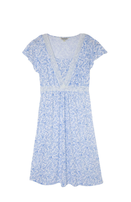 Maternity & Nursing Short Sleeve Jersey Nightdress (mlns) Blue Floral